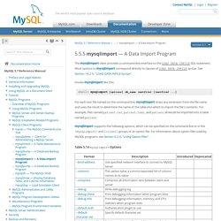 5.5.5 mysqlimport — A Data Import Program