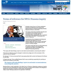 Terms of reference for NPAs Nxasana inquiry:Saturday 7 February 2015
