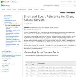 Error and Event Reference for Client Access Servers: Exchange 2010 Help