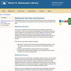 Reference Services and Sources