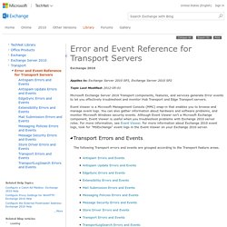 Error and Event Reference for Transport Servers: Exchange 2010 Help