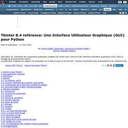 Tkinter 8.4 reférence: Une Interface Utilisateur Graphique (GUI) pour Python