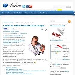 L'audit de référencement selon Google - Le blog Abondance : Réfé