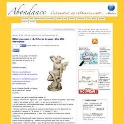Référencement : 10. Critères in page : Une URL descriptive - Référencement par Abondance