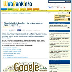 Bilan 2010 : référencement naturel, Google, site WebRankInfo…