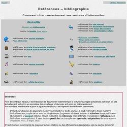 Références et bibliographie - Coment citer ses sources