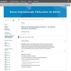 Références bibliographiques du dossier «les attentes éducatives des familles»