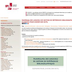 Panorama des logiciels de gestion de références bibliographiques : éléments pour choisir son outil