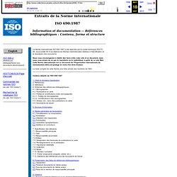 ISO 690: Références bibliographiques - Contenu, forme et structure
