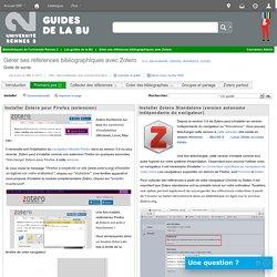 Installer - Gérer ses références bibliographiques avec Zotero