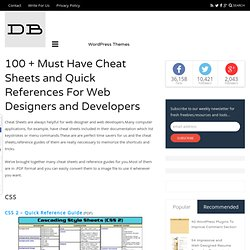 100 + Must Have Cheat Sheets and Quick References For Web Designers and Developers | DesignBeep