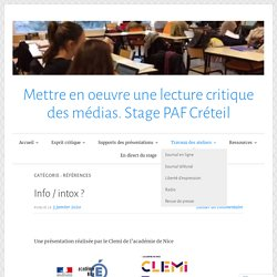 Références – Mettre en oeuvre une lecture critique des médias. Stage PAF Créteil
