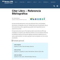 Citar Libro – Referencia Bibliográfica – Normas APA