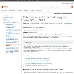 Referência de formato de arquivo para Office 2013