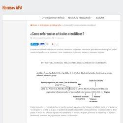 ¿Como referenciar artículos científicos?