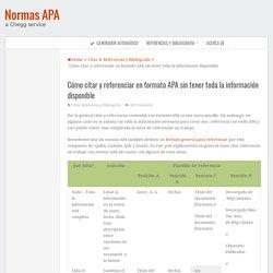 Cómo citar y referenciar en formato APA sin tener toda la información disponible