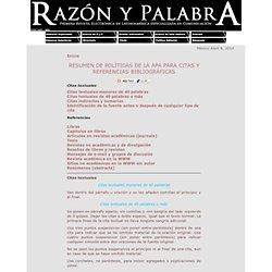 Resumen de políticas de la apa para citas y referencias bibliográficas - Razón y Palabra