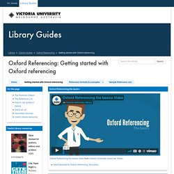 Getting started with Oxford referencing - Oxford Referencing - Library Guides at Victoria University