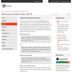 APA 7th - Referencing and Citation Styles - Subject guides at University of Sydney