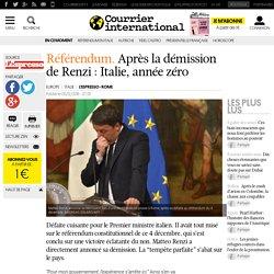 Référendum. Après la démission de Renzi: Italie, année zéro