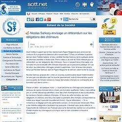 Nicolas Sarkozy envisage un référendum sur les obligations des chômeurs