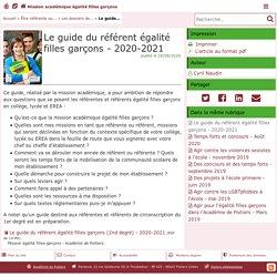 Le guide du référent égalité filles garçons - 2020-2021 - Mission académique égalité filles garçons