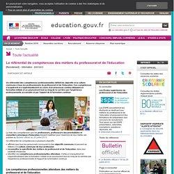 X - Le référentiel de compétences des métiers du professorat et de l'éducation