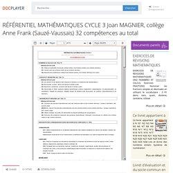 ⭐RÉFÉRENTIEL MATHÉMATIQUES CYCLE 3 Joan MAGNIER, collège Anne Frank (Sauzé-Vaussais) 32 compétences au total