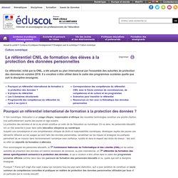 Culture numérique - Le référentiel CNIL de formation des élèves à la protection des données personnelles - Éduscol