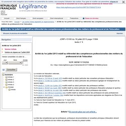 Arrêté du 1er juillet 2013 relatif au référentiel des compétences professionnelles des métiers du professorat et de l'éducation