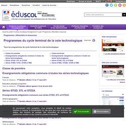 Programmes, référentiels et ressources - Programmes du cycle terminal de la voie technologique