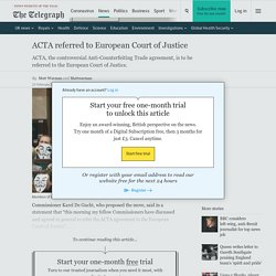 ACTA referred to European Court of Justice