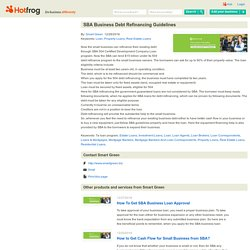 SBA Business Debt Refinancing Guidelines