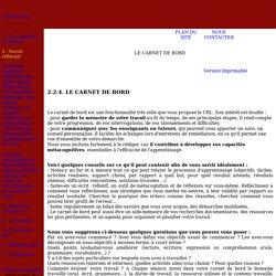 Savoir réfléchir / Stratégie métacognitives / Le carnet de Bord