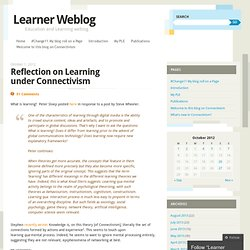 Reflection on Learning under Connectivism