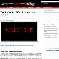 Text Reflection Effect in Photoshop
