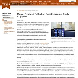 Mental Rest and Reflection Boost Learning, Study Suggests