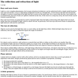 The reflection and refraction of light