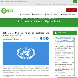Reflections from UN Forum on Business and Human Rights 2019