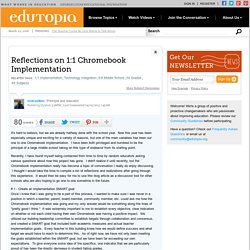 Reflections on 1:1 Chromebook Implementation