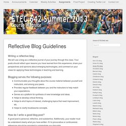 Reflective Blog Guidelines