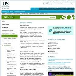 Reflective writing : Skills Hub: University of Sussex