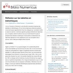 Réflexion sur les tablettes en bibliothèques – Biblio Numericus