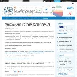 Réflexions sur les styles d'apprentissage