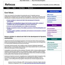 Refocus: Core Values