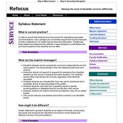 Refocus: Syllabus Statement