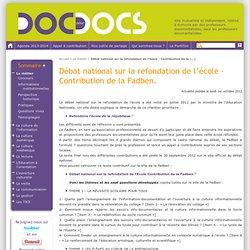 Débat national sur la refondation de l'école - Contribution de la Fadben.