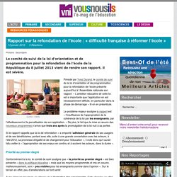 Rapport sur la refondation de l'école : «difficulté française à réformer l'école»