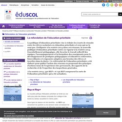 Refondation de l'éducation prioritaire - La refondation de l'éducation prioritaire