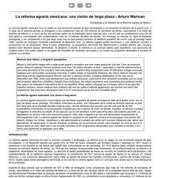 La reforma agraria mexicana: una visión de largo plazo - Arturo Warman